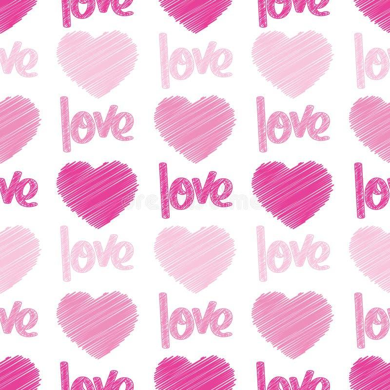 Azulejo inconsútil de los garabatos del amor y de los corazones ilustración del vector