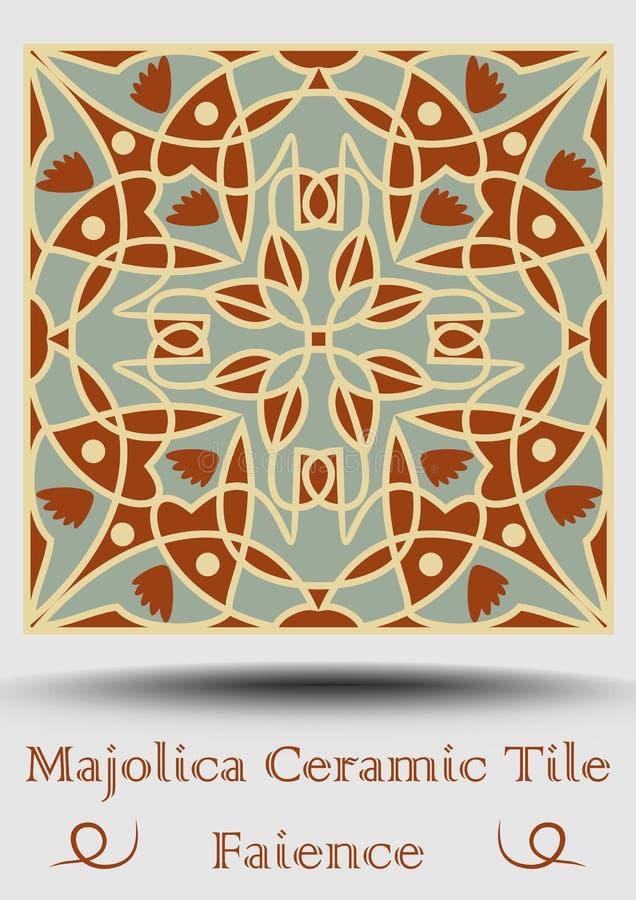 Azulejo keramisk tegelplatta i beiga, olivgrön gräsplan och röd terrakotta Keramisk fajans för tappning Traditionell spansk krukm vektor illustrationer