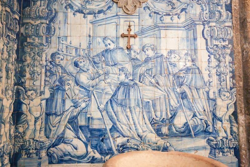 Azulejo in the Monastery of Santa Cruz (Coimbra). Azulejo in the Monastery of Santa Cruz, founded in 1131 in Coimbra, Portugal royalty free stock photography