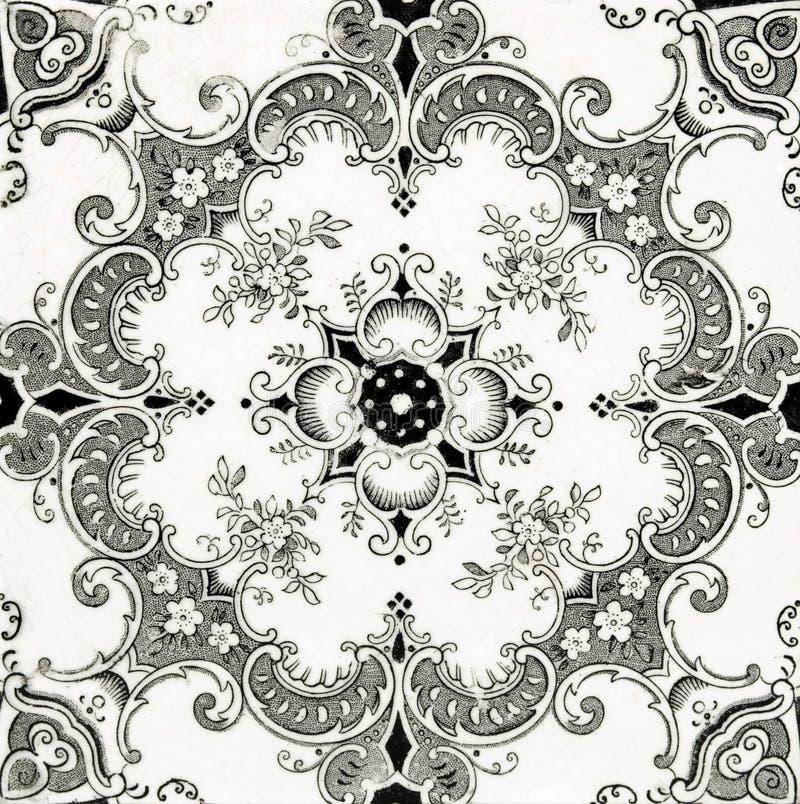 Azulejo negro y blanco fotos de archivo