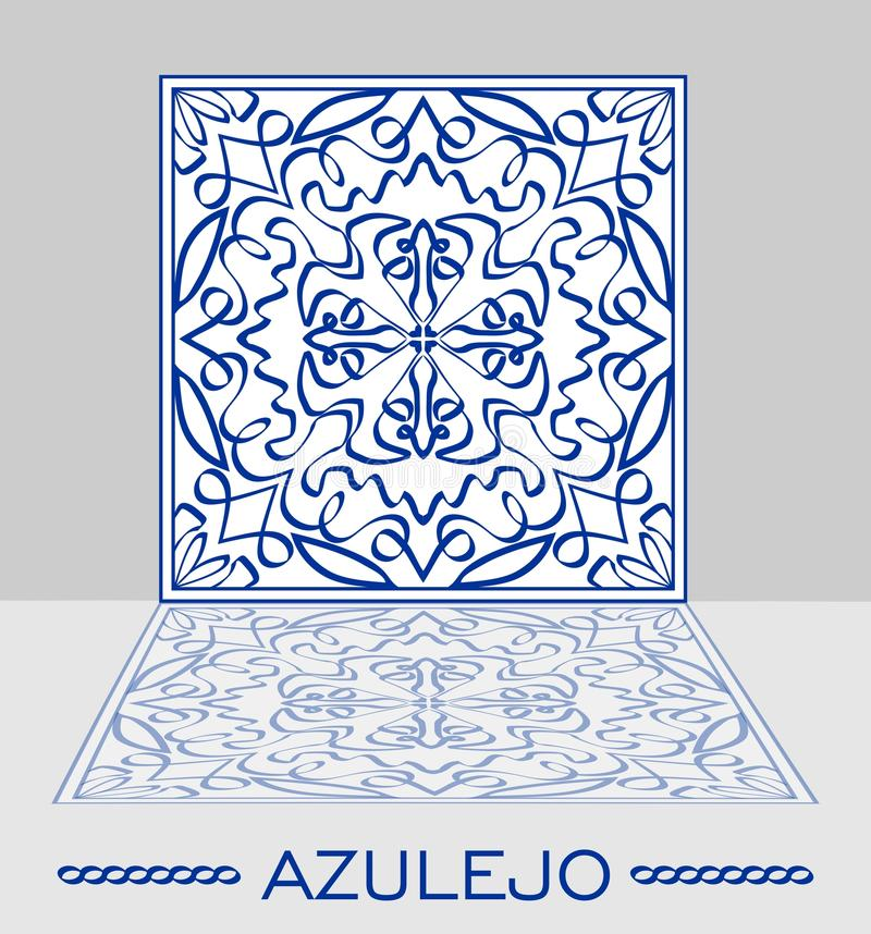 Azulejo original portuguese ceramic tile with mirror image on light gray background. vector illustration