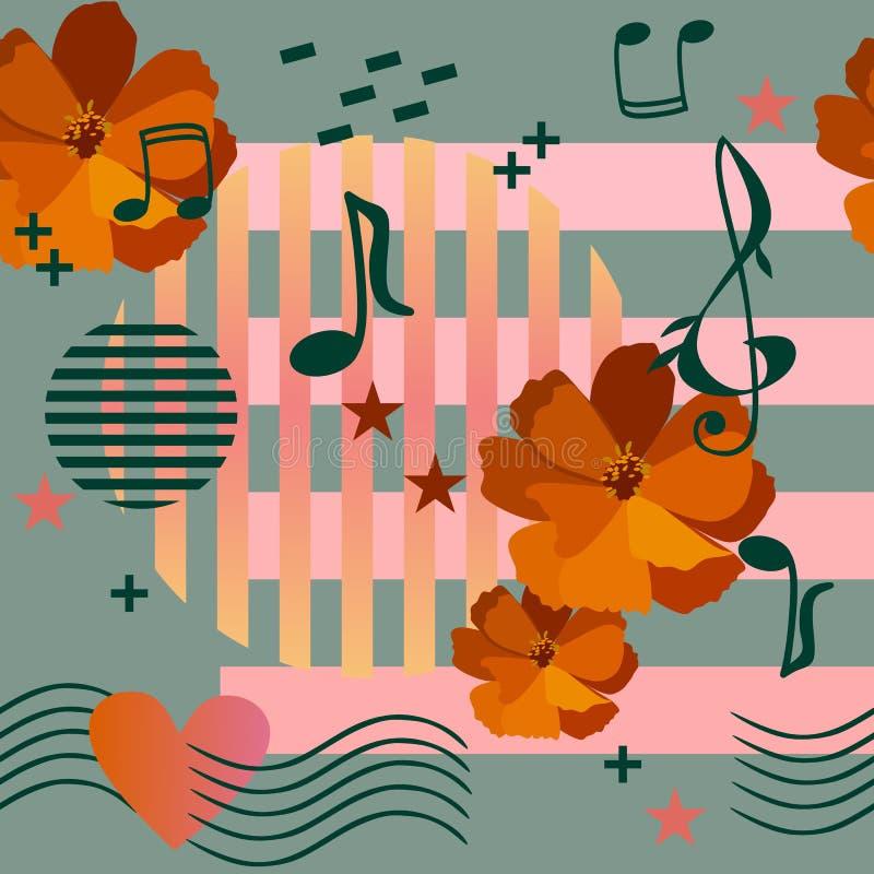 Azulejo ou cópia sem emenda para a tela com as flores alaranjadas do cosmos, as réguas musicais que passam através do coração, as ilustração stock