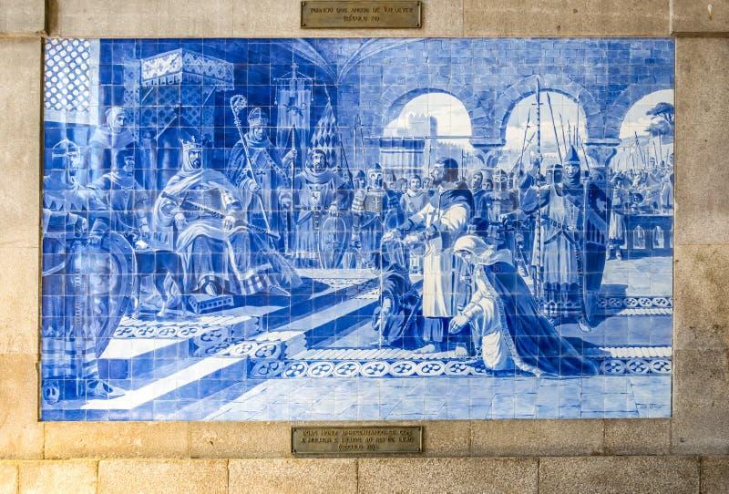 Azulejo på São Bento Railway Station, Porto, Portugal arkivbilder