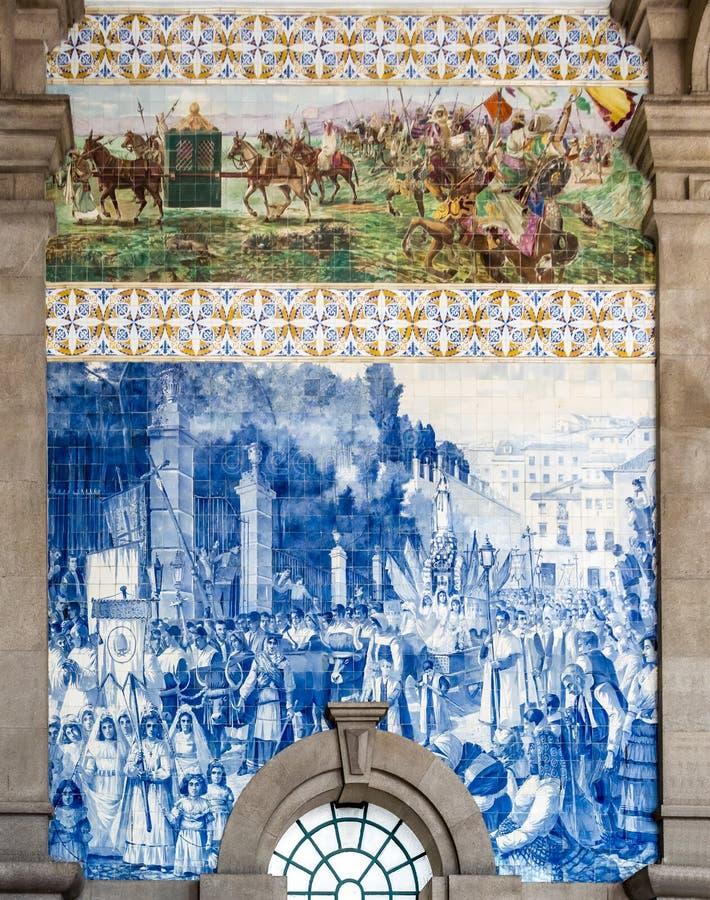 Azulejo at São Bento Railway Station, Porto, Portugal royalty free stock photos