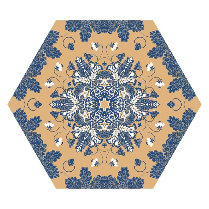 Azulejo sextavado com teste padrão floral mágico ilustração royalty free