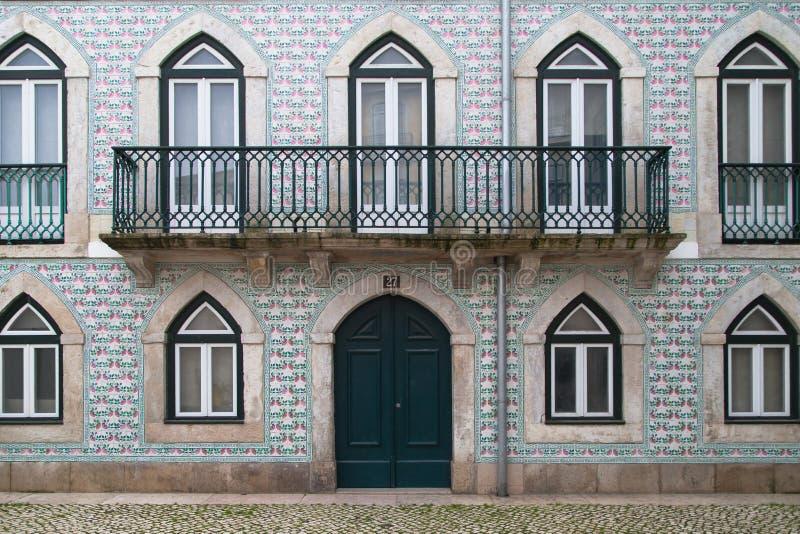 Azulejo Tile House in Alfama royalty free stock image
