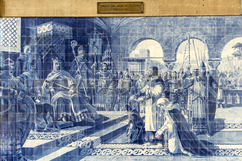 Azulejo tile in Porto`s Sāo Bento Railroad Station commemorating Alfonos I`s victory in the 1140 Battle of Valdevez royalty free stock photography