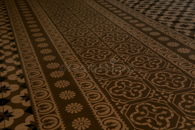 Azulejo tiles in Mexico. Old floor with azulejos tiles in church, Oaxaca, Mexico stock photo