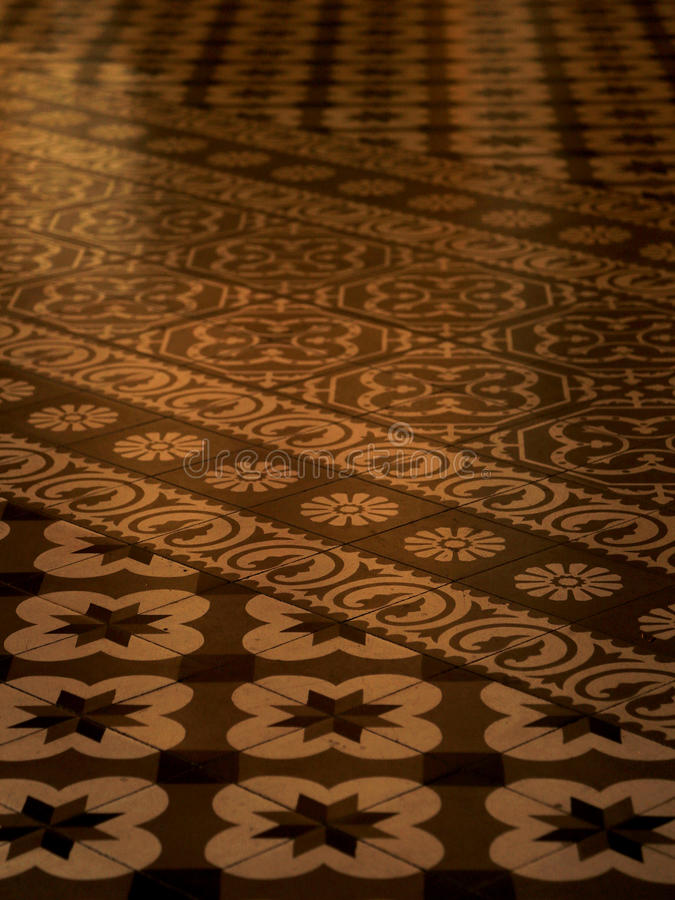 Azulejo tiles in Mexico. Old floor with azulejos tiles in church, Oaxaca, Mexico royalty free stock photography