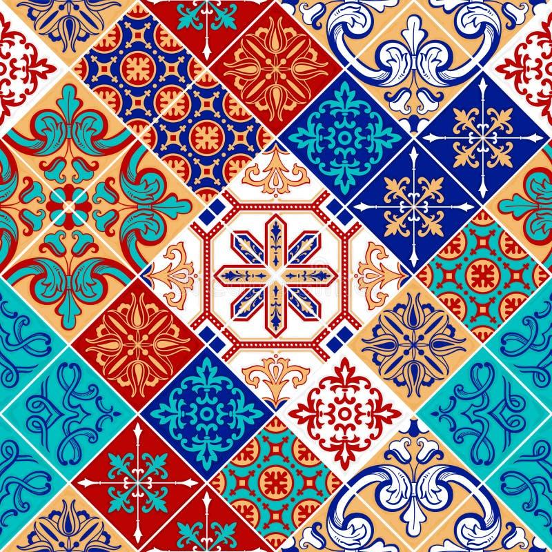 Azulejo wzoru patchwork, tradycyjny dachówkowy ornament ilustracji