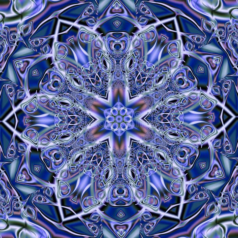 Azulejo (Zellige)色彩强烈马赛克蔓藤花纹 几何样式给上釉的瓦片 高分辨率详细的图表样式illustratio 皇族释放例证