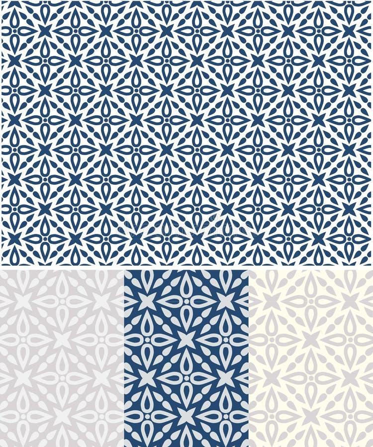 Azulejos启发了蓝色传染媒介无缝的样式 皇族释放例证