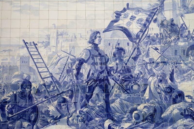 Azulejos auf der Wand des Sao Bento Train Station lizenzfreie stockbilder