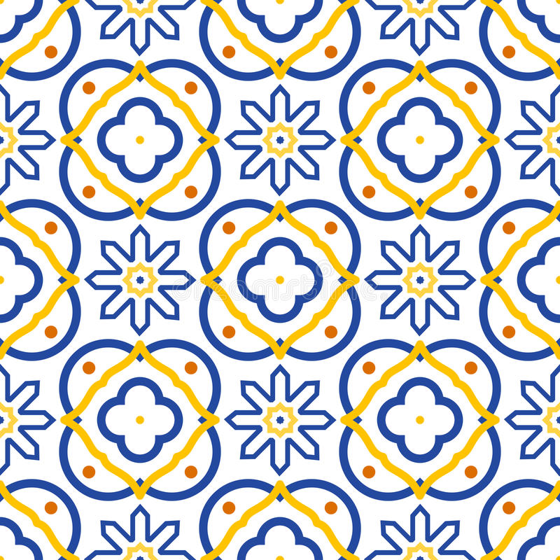 Azulejos blue and white mediterranean seamless tile pattern. Geometric spanish ceramic shapes vector texture for fabric textile and wallpaper royalty free illustration