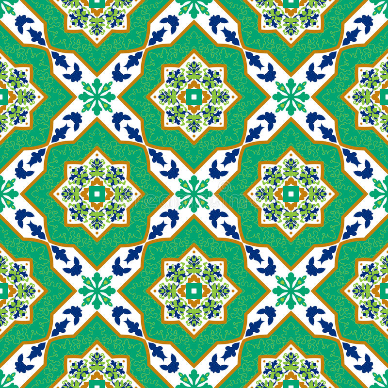 Azulejos clássicos espanhóis Testes padrões sem emenda ilustração royalty free