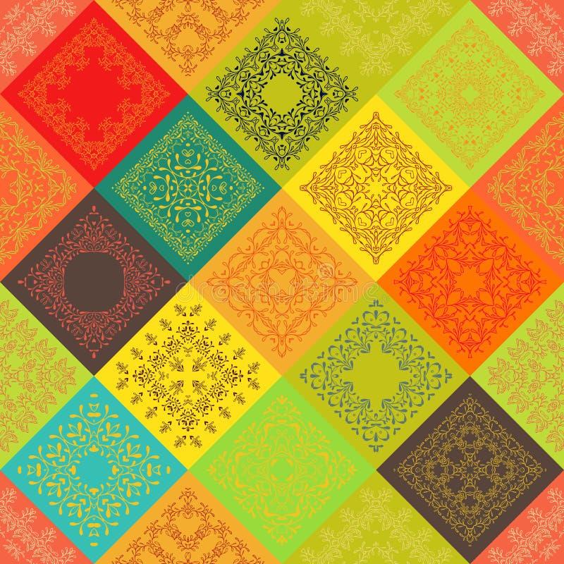 Azulejos coloridos abstratos sem emenda do vintage com quadro marroquino do teste padrão do ornamento na moda da flor Texturas do ilustração do vetor