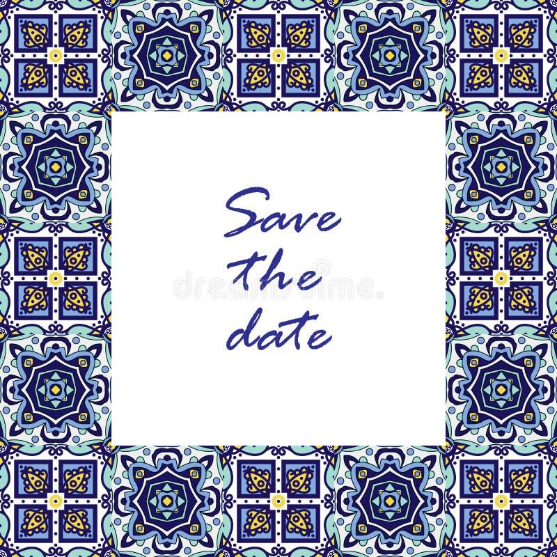 Azulejos de bannière dans le style portugais de tuiles pour des affaires illustration de vecteur