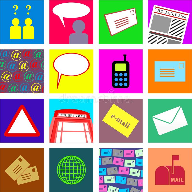 Azulejos de la comunicación ilustración del vector