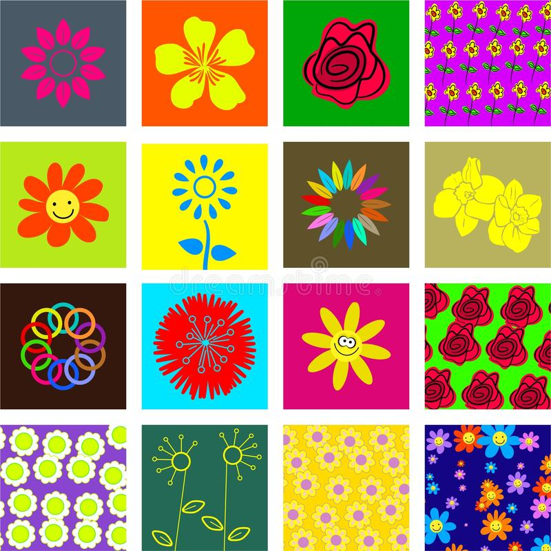 Azulejos de la flor stock de ilustración