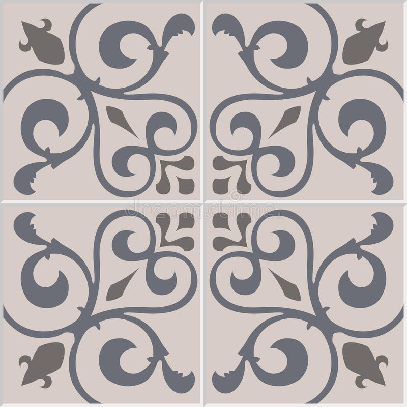 Azulejos decorativi portoghesi decorati tradizionali delle mattonelle Reticolo dell'annata illustrazione di stock