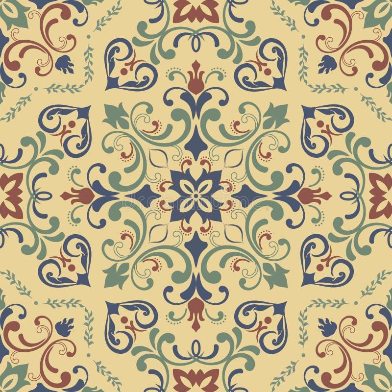 Azulejos decorativi portoghesi decorati tradizionali delle mattonelle Reticolo dell'annata illustrazione vettoriale