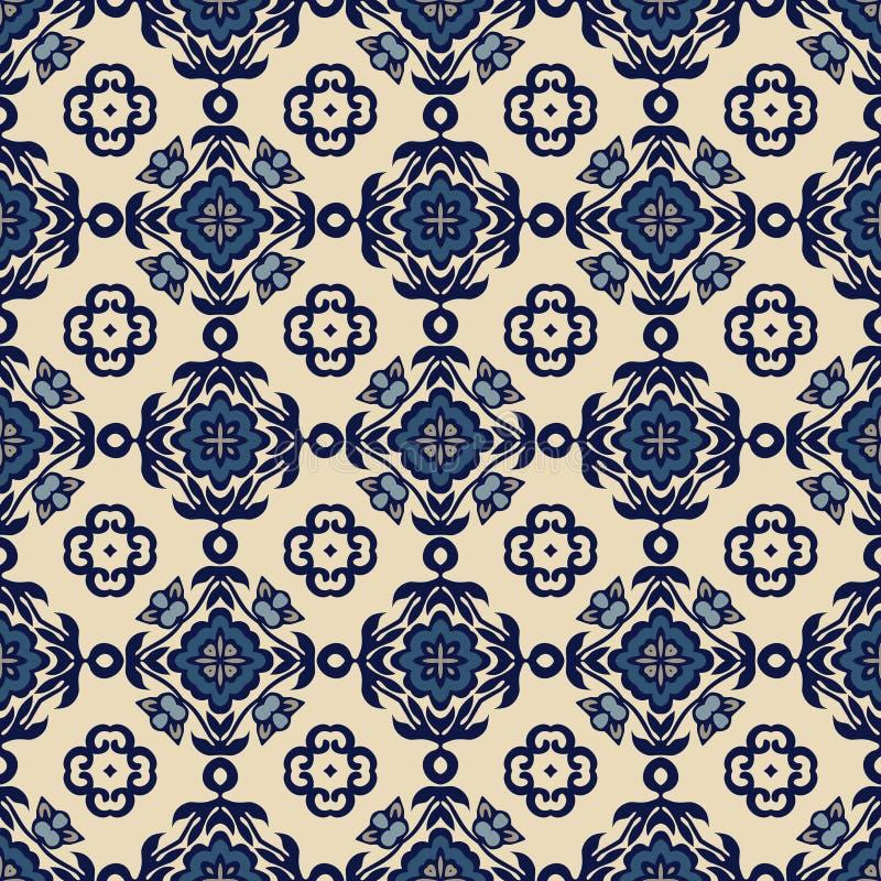 Azulejos decorativos ornamentados tradicionais das telhas Teste padrão do vintage abstraia o fundo ilustração stock