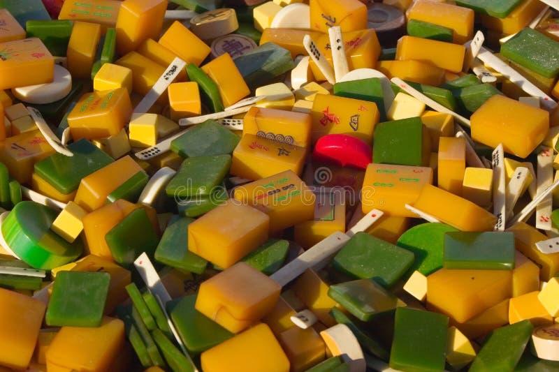 Azulejos del mahjong de la vendimia fotografía de archivo libre de regalías