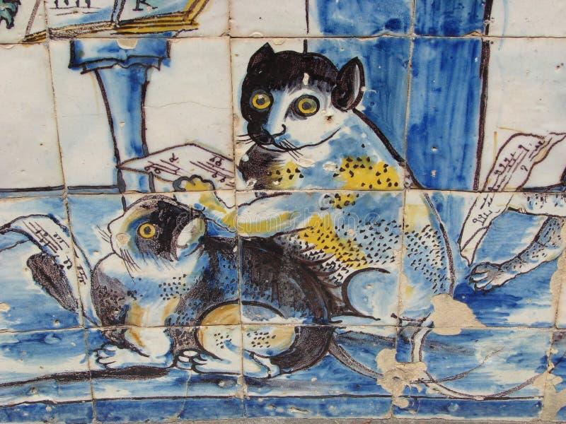 Azulejos met katten stock afbeelding