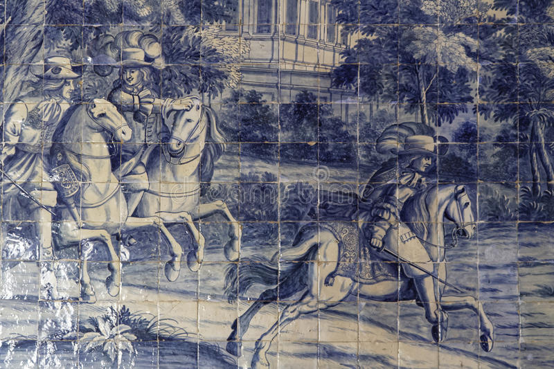 Azulejos in the Palace of Sintra. SINTRA, Portugal, April 7, 2017 : Azulejos in the Palace of Sintra, for a long time the residence of Royal family during the stock images