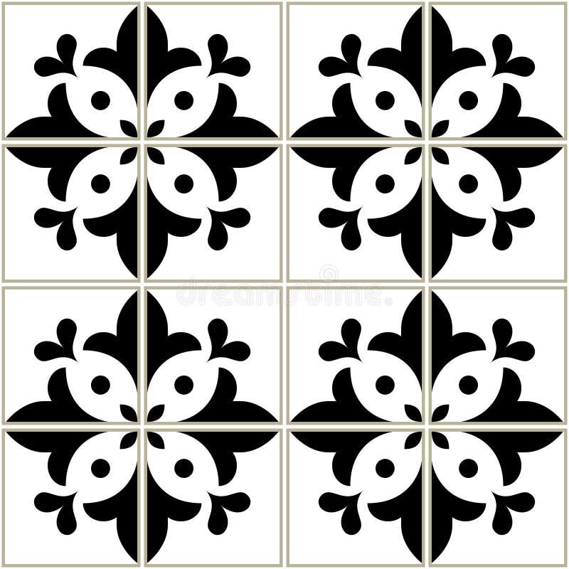 Azulejos piastrella il modello - progettazione floreale portoghese, fondo in bianco e nero di vettore senza cuciture, mosaici d'a illustrazione vettoriale
