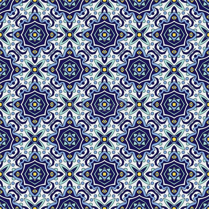 Azulejos portoghesi tradizionali dell'ornamento blu Reticolo senza giunte orientale royalty illustrazione gratis