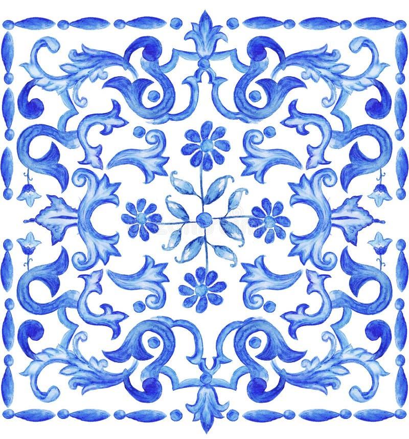Azulejos portugisvattenfärg stock illustrationer