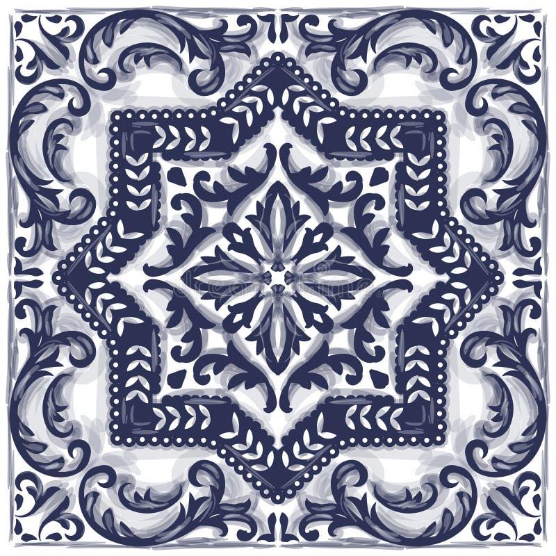 Azulejos portugisvattenfärg royaltyfri illustrationer