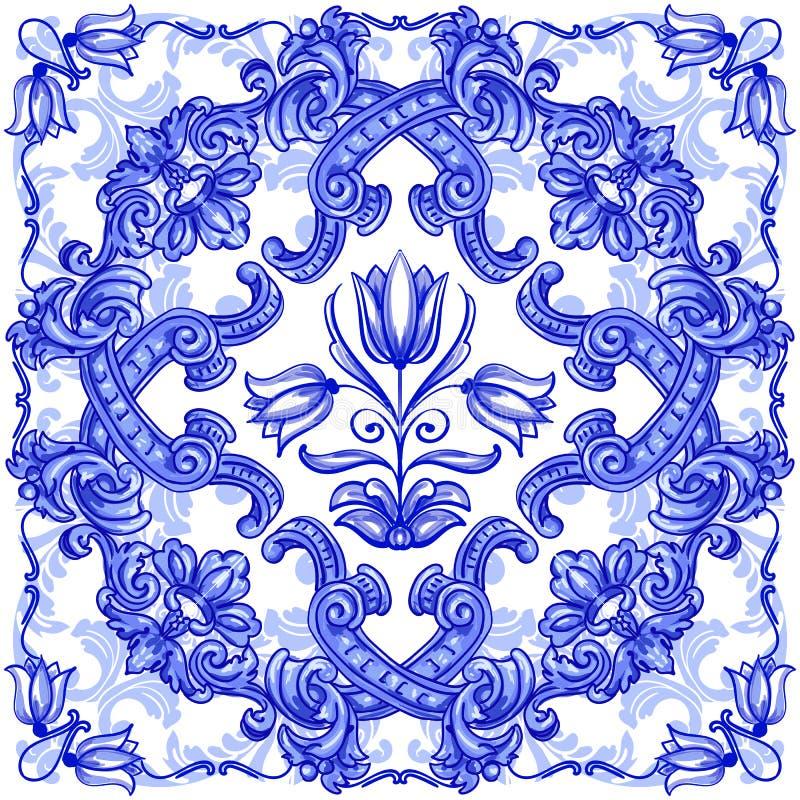 Azulejos portugisvattenf?rg stock illustrationer