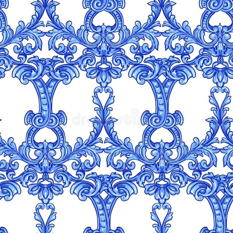 Azulejos portugisvattenf?rg royaltyfri illustrationer