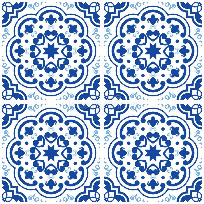 Azulejos Portuguese tile floor pattern, Lisbon seamless indigo blue tiles, vintage geometric ceramic design, Spanish backgr. Floral and abstract shapes texture stock illustration