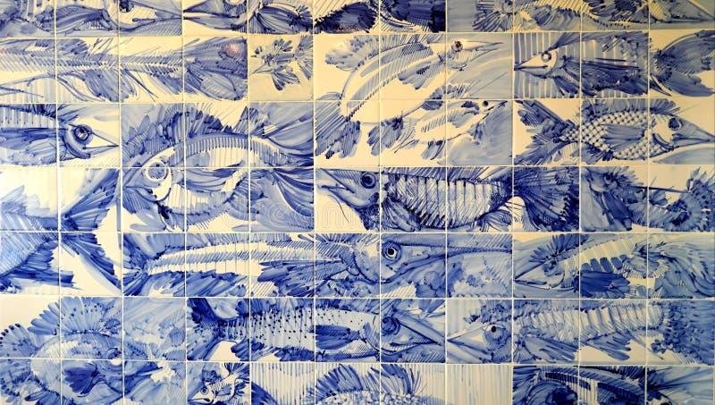 Azulejos portugueses, chamados azulejos fotografia de stock