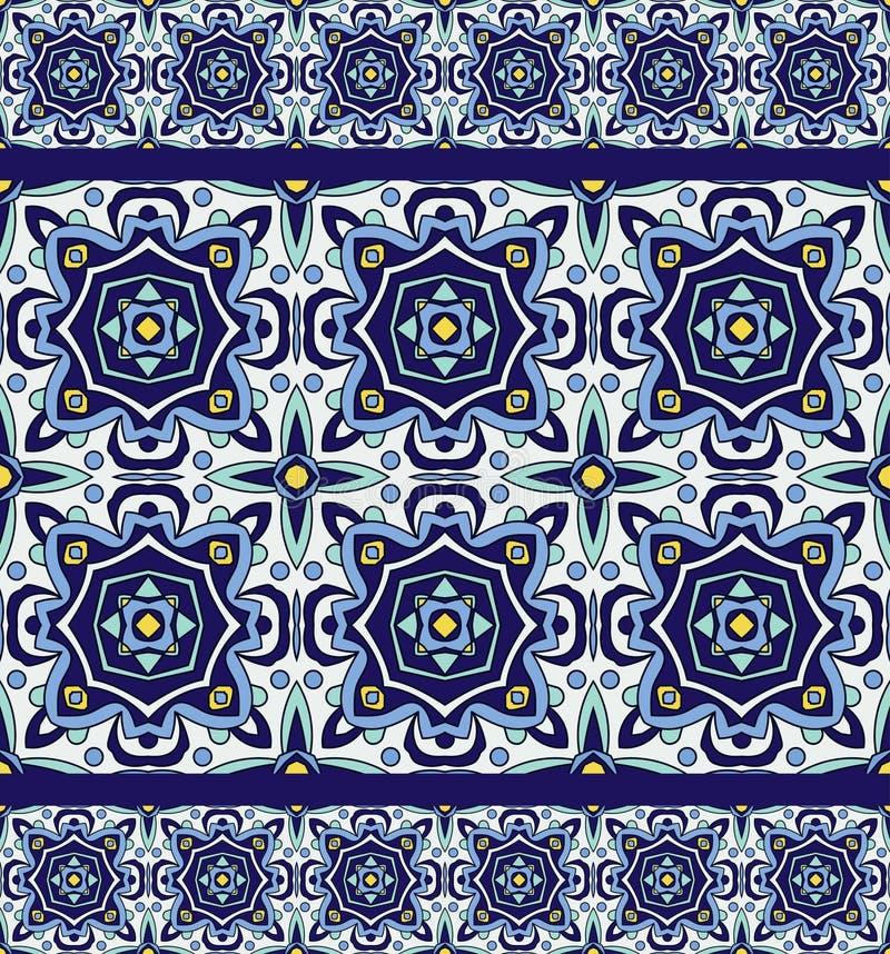 Azulejos portugueses tradicionais do ornamento azul Teste padrão sem emenda oriental ilustração do vetor