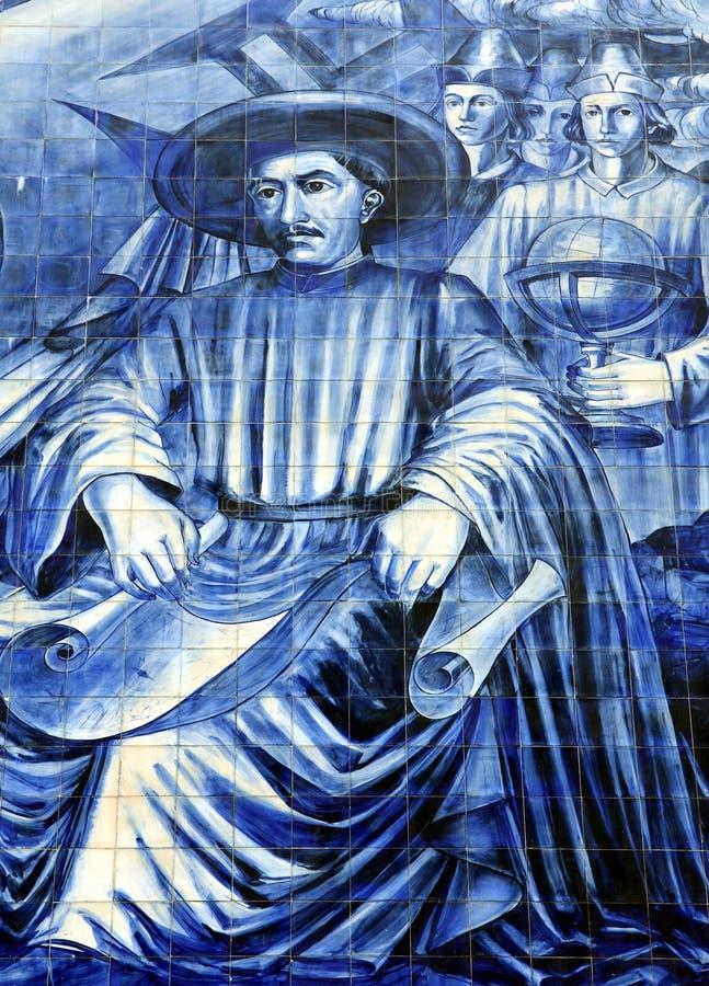 Azulejos su una parete della chiesa a Oporto immagini stock
