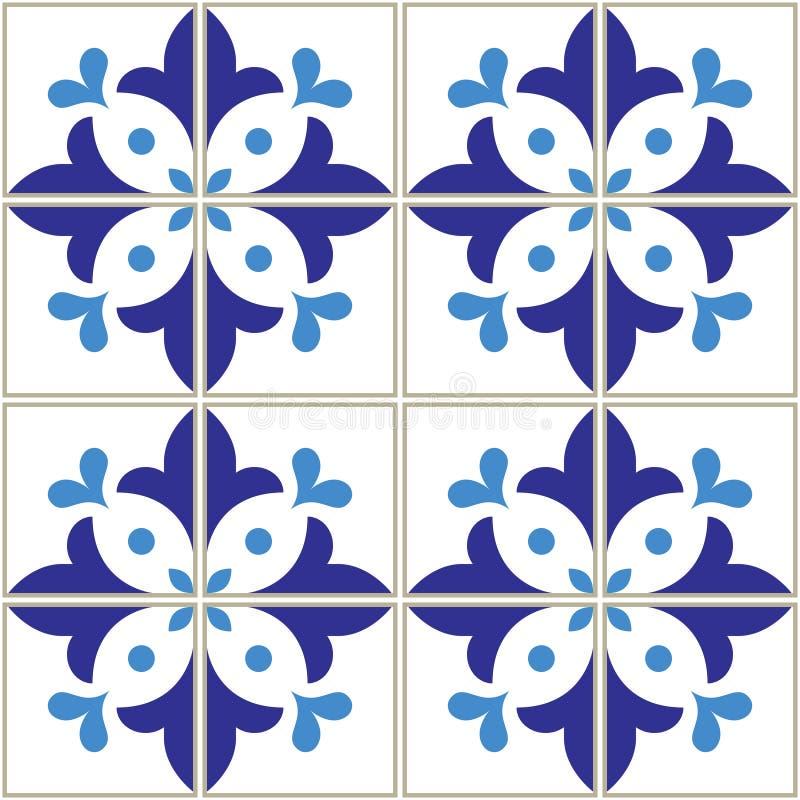 Azulejos teja el modelo - diseño portugués de los azules marinos, fondo azul del vector inconsútil, mosaicos del vintage fijados ilustración del vector