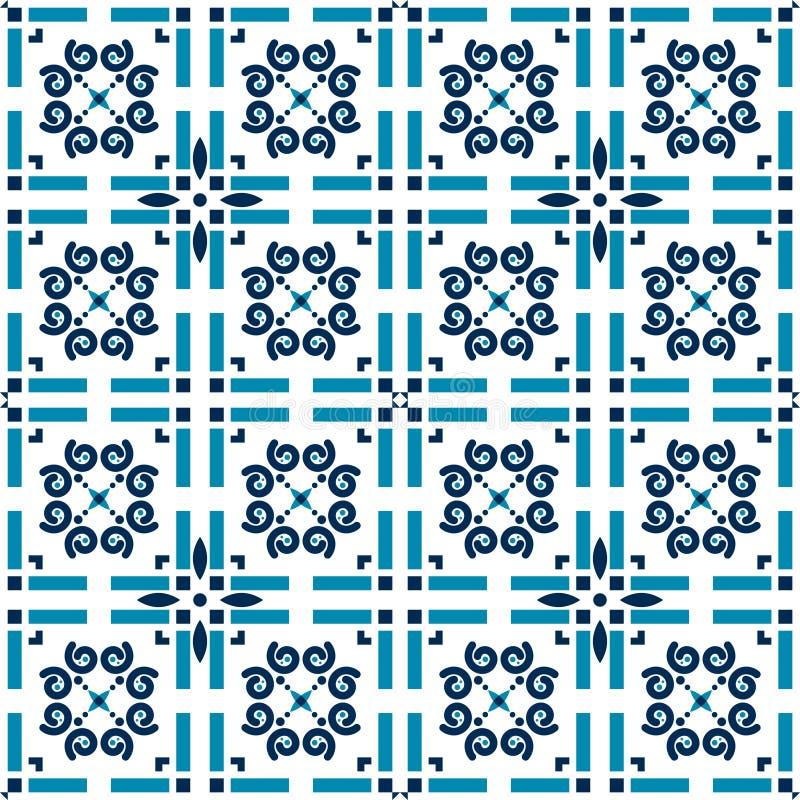 Azulejos teja el modelo geométrico del fondo azul del vector ilustración del vector