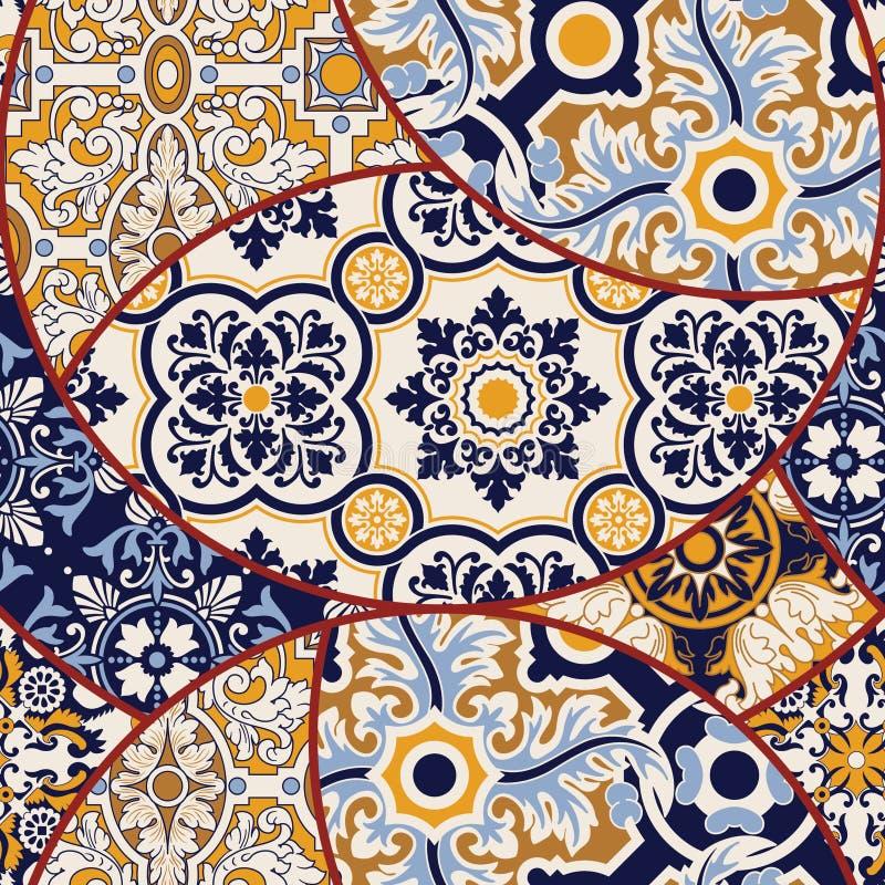 Azulejos telha o papel de parede abstrato dos retalhos ilustração stock