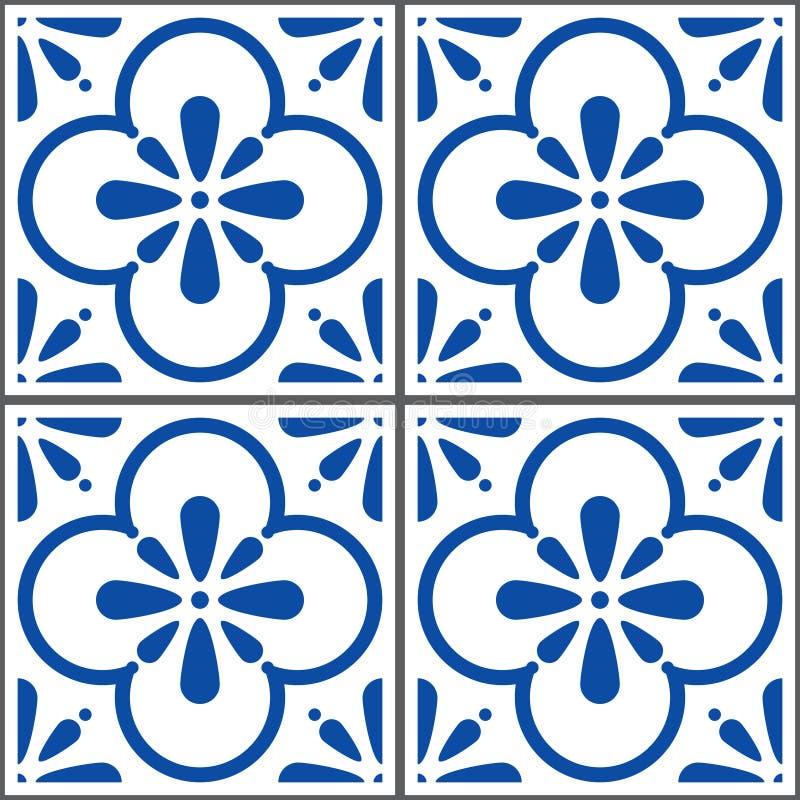 Azulejos vector tiles pattern, Portuguese seamless blue tiles design, Geometric ceramics vector illustration