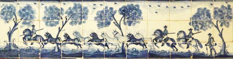 Azulejos viejos que representan una manada de toros, Sevilla imagenes de archivo