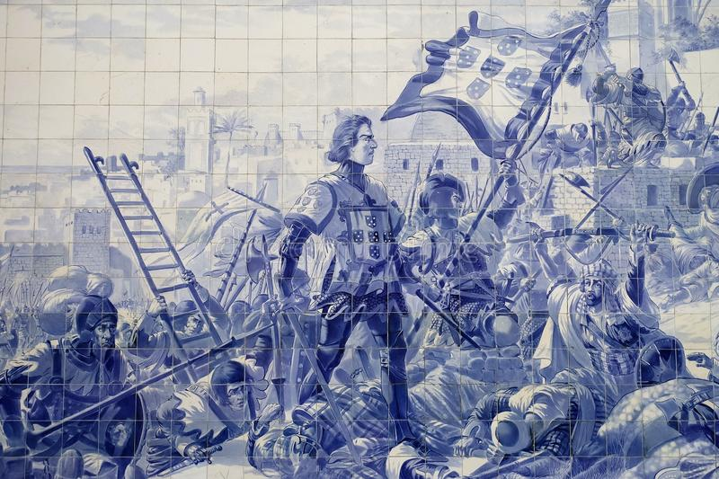 Azulejos on the wall of the Sao Bento Train Station in Porto, Portugal royalty free stock images