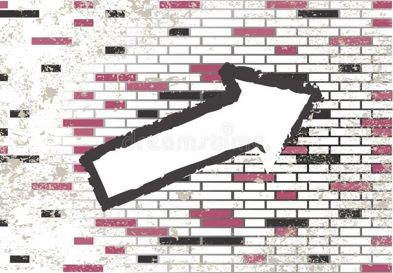 Azulejos y flecha abstractos de mosaico del grunge stock de ilustración
