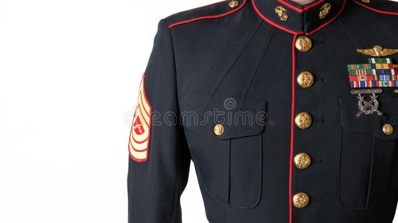 Azules de alineada del USMC uniformes foto de archivo