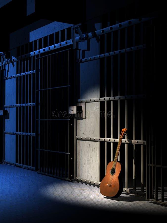 Azules de la prisión stock de ilustración