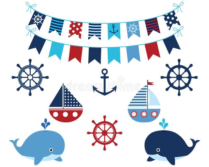 Azules marinos náuticos fijados con las ballenas ilustración del vector