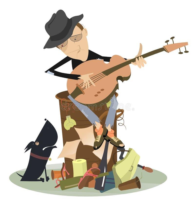 Azules o guitarra tristes de los juegos del hombre del jazz ilustración del vector